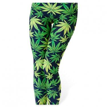 Cannabis leaf green leggings