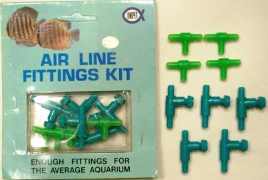 18 PIECE PLASTIC AIR LINE FITTINGS KIT T CONNECTORS AND VALVES NEW