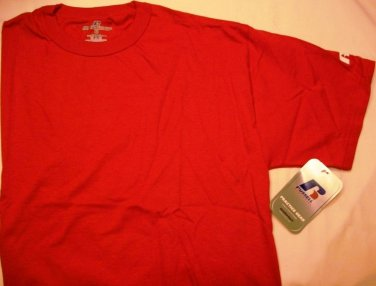 RUSSELL ATHLETIC WORKOUT 100% COTTON BASIC CREW T-SHIRT TRUE RED M NEW 67014MK