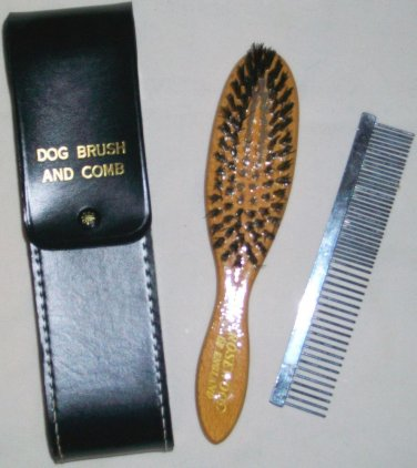 ROSEWOOD OF ENGLAND DOG BRUSH & COMB GROOMING SET WITH BLACK LEATHER CASE NEW