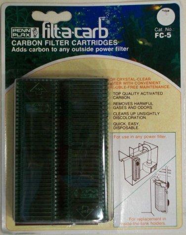 TWIN PACK PENN PLAX FILT-A-CARB FC-5 UNIVERSAL POWER FILTER CARBON CARTRIDGE NEW