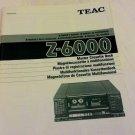 Teac Z-6000 Cassette Deck Manual in 5 Language Français Espanol Allemand Italien