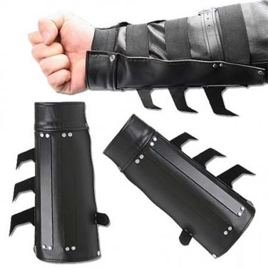 2 PCS Spiked Ninja Bracers Razor Spikes Batman style Arm Gauntlet/'s