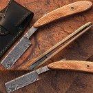 Custom Made Damascus Steel Straight Razor w/ Olive Wood Handle