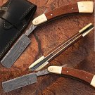 Damascus Steel Straight Razor w/ Camel Bone & Wood Handle