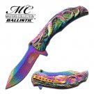 MTech Dragon Fury Assisted Opening Folding Pocket Knife Rainbow