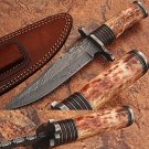 Custom Made Damascus Steel Hunting Knife w/ Bone Handle & Guard