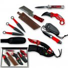 Mancave Knives Gift Box Set RED | Damascus Steel, Fixed Blade, Folding A/O, Throwers