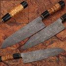 Damascus Steel Chef Knife Buffalo Bone & Olive Wood Handle