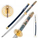 Highlander Closed Mouth Dragon Katana with Blue Lacquered Saya