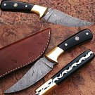 Custom Handmade Damascus Steel Knife (Buffalo Horn Handle)