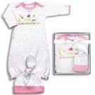 Baby girls 0-9 months 2 piece gown & cap infant layette set newborn gift K700