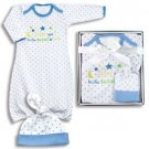 Baby boys preemie 2 piece gown & cap infant layette set newborn gift K700