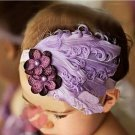 Vintage style baby headband with purple feathers and flowers C175