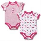 New 2 piece Hello Kitty baby girl bodysuits 3-6 months newborn gift set K375