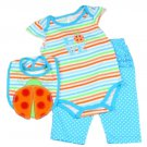 Baby girl's 0-3 Month 3PC set creeper, pants & bib PKW650 Ladybug