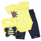 Baby Girl's 6-9 Months 3 PC Set creeper, pants, bib BABY TOGS PKW650 Bee Sale