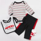 Baby boy's size 3-6 months 4 pieces outfit - pants, bodysuit, bib and socks