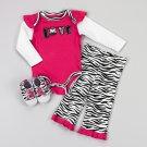 Baby girl's 6-9 months zebra print leggings set - leggings, bodysuit and shoes 479