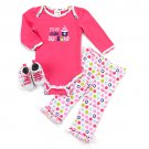Baby girl's 3-6 months 3 piece set pants bodysuit shoes B520