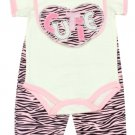 Baby girl's 3-6 months 3 pc zebra set creeper, pants & bib PKW650