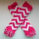 Pink and White ruffled chevron leggings baby girl leg warmers socks C190 Sale
