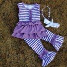 Girls size 2 purple and white ruffled 4 pc capri set pants, top, necklace and headband C1299