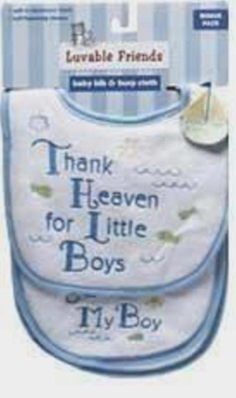 "Luvable Friends ""Thank Heaven For Little Boys"" Bib & Burp Cloth Set Baby Gift"