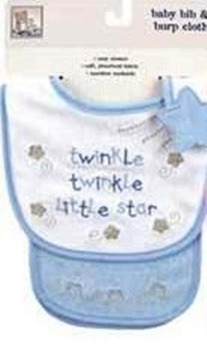 Newborn baby boy's bib & burp cloth set Twinkle Little Star infant