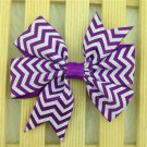 Girls chevron purple and white color hairbow hair accessories