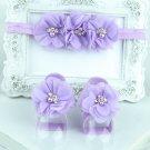 Newborn purple barefoot sandals & headband baby hair accessories C299