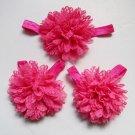 Baby toddler dark pink barefoot sandals & headband baby hair accessories C224