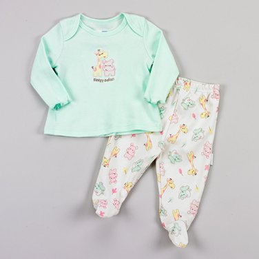 Baby girl's size newborn mint green safari print pajamas B399