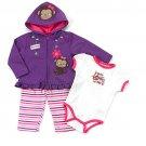 Baby girl's 12 months Buster Brown 3 piece hoodie, pants & bodysuit
