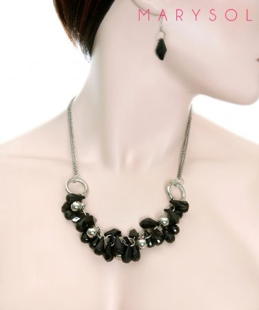 Silver chain necklace with cluster of black beads and earring set jewelry