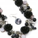 Beautiful Madison Ave chunky necklace and earrings w/ beads butterflies jewelry