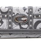 Ladies G style gray wallet with back zipper pocket and credit card slots OS599