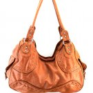 Ladies brown synthetic leather handbag hobo purse OS999