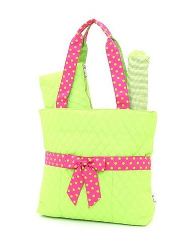 Quilted lime & pink monogrammable 3pc baby diaper bag QSD2721 LMFS BS977 Gift