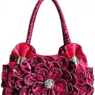 Ladies beautiiful handbag with rhinestone and silver accents w/cell phone pocket LA