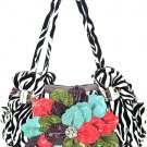 Ladies zebra print handbag with floral accent ZT928F-Pup