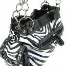 New ladies black zebra print laminated handbag purse 939ZP-Blk LA750