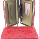 Crocodile print Laminated Thick Flat Wallet w/ Checkbook Cover & Zipper Pocket AC-SC16-Fu LA350