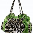 New ladies lime green floral zebra print handbag tote QZ887-Lime LA750