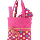 Quilted polka dots 3 piece diaper bag LPDQ1103L(FSMT) BS795