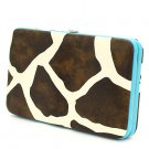 Ladies giraffe print flat wallet w/ blue trim MG-238(BL) handbag gift BS150