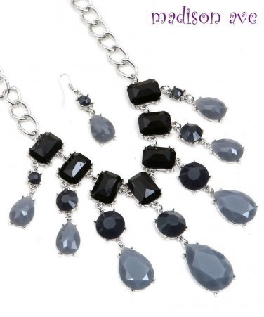 Bib necklace & earrings with black & gray faceted stones N3206-203 SALE
