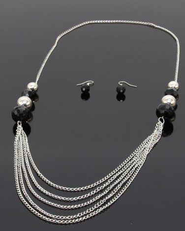 Multi-layered chain link necklace & earrings w/ beads BS100 ACS11178M BK