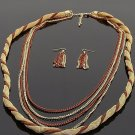 Ladies twisted layer chain link necklace & earring set BLE1012BR BS100