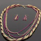 Ladies twisted layer chain link necklace & earring set BLE1012AMY BS100